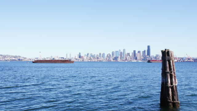 seattle skyline from the water, wood pilings in foreground - nordpazifik stock-videos und b-roll-filmmaterial