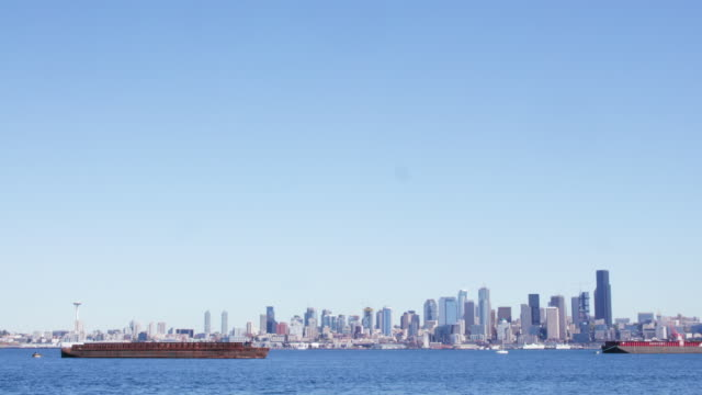 Seattle skyline over the water, wide