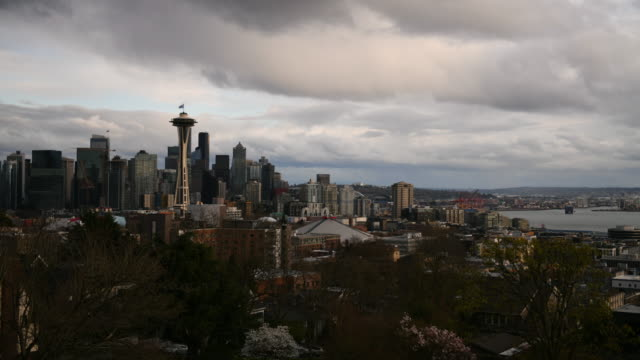 seattle skyline zeitraffer - seattle stock-videos und b-roll-filmmaterial