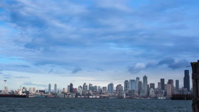 skyline di seattle - pacifico occidentale video stock e b–roll