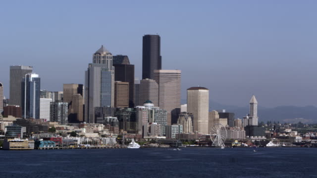 Seattle skyline viewed from aboat