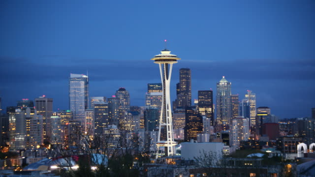 seattle skyline with space needle - seattle stock videos & royalty-free footage