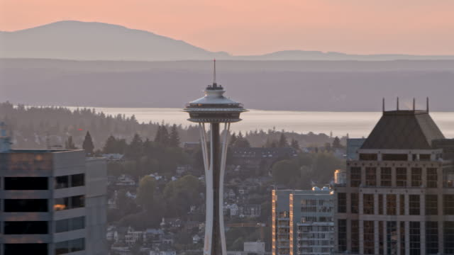 aerial seattle skyscrapers and space needle - seattle stock-videos und b-roll-filmmaterial
