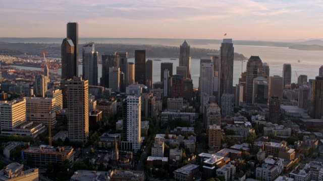 aerial seattle skyscrapers at sunset - seattle stock videos & royalty-free footage