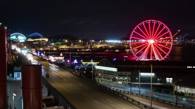 seattle waterfront at night - ferris wheel stock videos & royalty-free footage