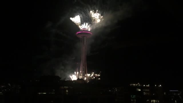 seattle welcomed 2016 in tradition at the space needle - space needle stock videos & royalty-free footage