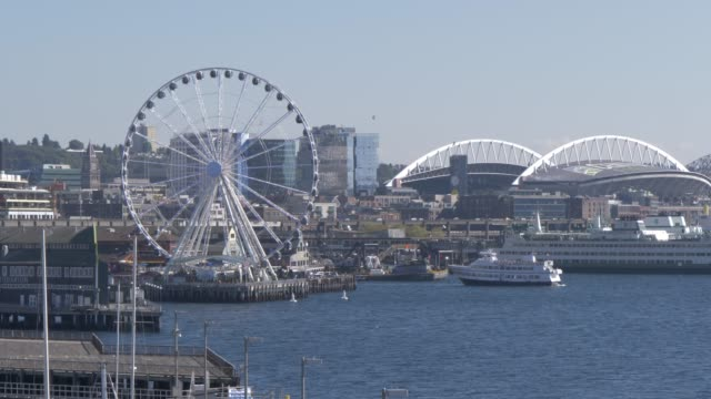 seattle wheel and waterfront, seattle, washington state, united states of america, north america - waterfront stock videos & royalty-free footage