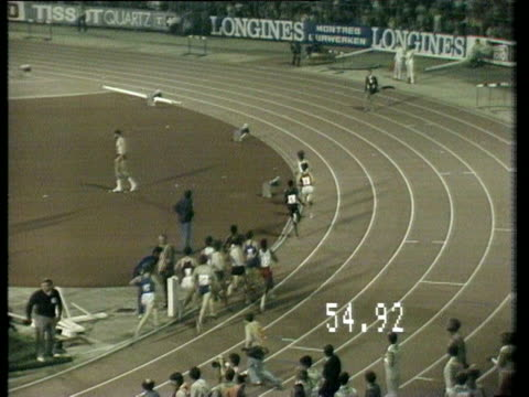 vídeos de stock, filmes e b-roll de sebastian coe sets a world record in brussels in 1981. - sebastian coe