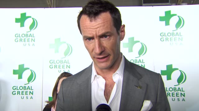 sebastian copeland on being a part of the night, growing up in hawaii at the global green usa's 7th annual pre-oscar party at hollywood ca. - oscar party stock videos & royalty-free footage