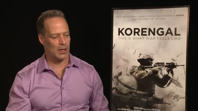 vídeos y material grabado en eventos de stock de interview sebastian junger on anything that was surprising while making the film at the 'korengal' los angeles press junket at the four seasons hotel... - korengal tal