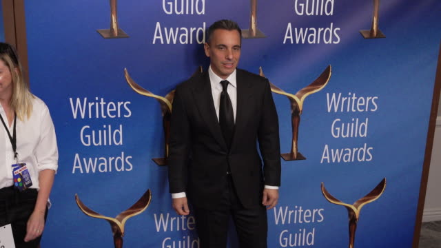 sebastian maniscalco at the 2020 writers guild awards at the beverly hilton hotel on february 01, 2020 in beverly hills, california. - the beverly hilton hotel stock videos & royalty-free footage
