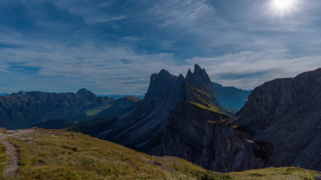 Seceda mountain in Dolomites, Italy,4k time-lapse