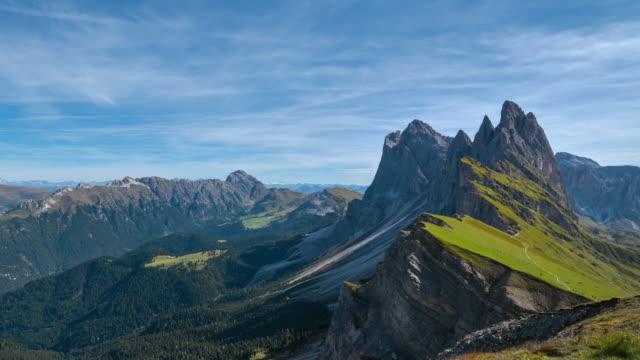 Seceda mountain in Dolomites, Italy,4k time-lapse