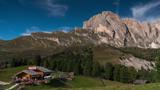 Seceda timelapse at daylight time , south tyrol , dolomites , Italy