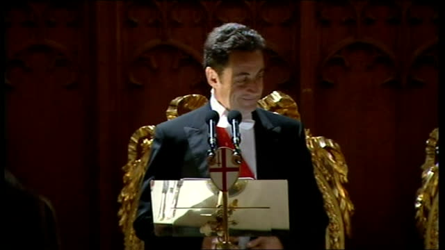 second day of state visit by nicolas sarkozy and his wife carla bruni: state banquet at guildhall / sarkozy speech; drumroll, fanfare as sarkozy... - state dinner stock videos & royalty-free footage