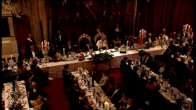 second day of state visit by nicolas sarkozy and his wife carla bruni: state banquet at guildhall / sarkozy speech; various shots around banquet hall... - state dinner stock videos & royalty-free footage