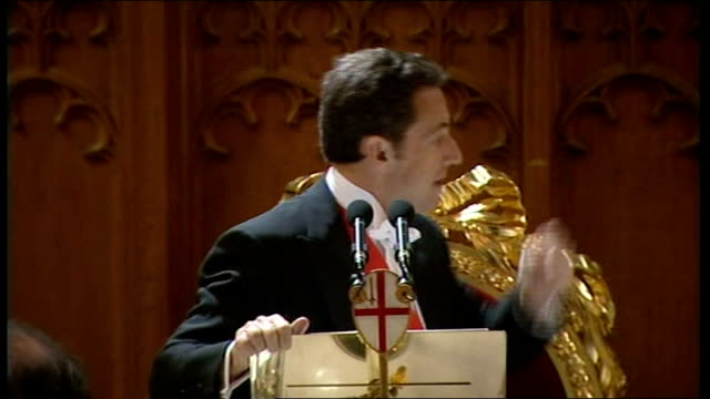 second day of state visit by nicolas sarkozy and his wife carla bruni state banquet at guildhall / sarkozy speech sarkozy speech sot i would like to... - 不公平点の映像素材/bロール