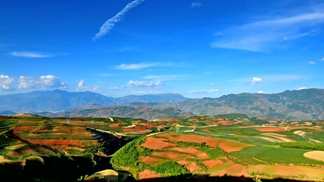 vídeos de stock, filmes e b-roll de segundo magnífico vermelha terra do mundo-em direção à noite - yunnan province