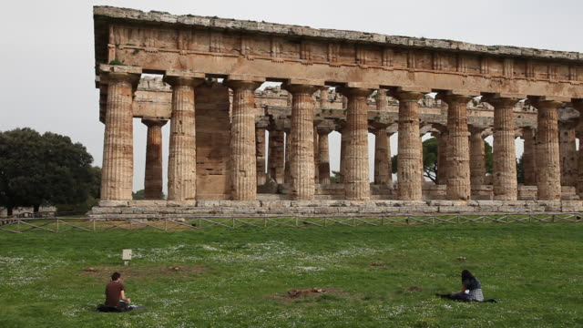 second temple of hera ('of poseidon'), exterior, south side, paestum, italy - temple of poseidon stock videos and b-roll footage