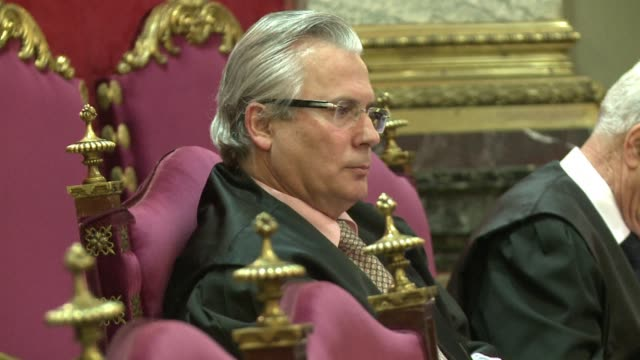 a second trial of the judge baltasar garzon begins in spain's supreme court he is being prosecuted for ordering an investigation into the... - war crimes trial stock videos & royalty-free footage