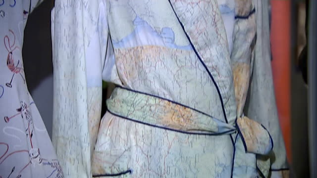 second world war 'fashion on the ration' exhibition; various of 1940s clothing on display for 'fashion on the ration' exhibition including coats,... - patchwork stock videos & royalty-free footage