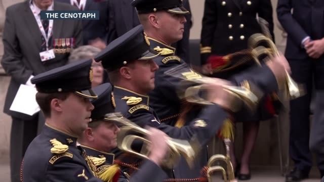 Second World War ITV VE Day 70th Anniversary Special PAB **Music heard SOT** Royal Air Force buglers playing SOT Welsh Guards band playing national...
