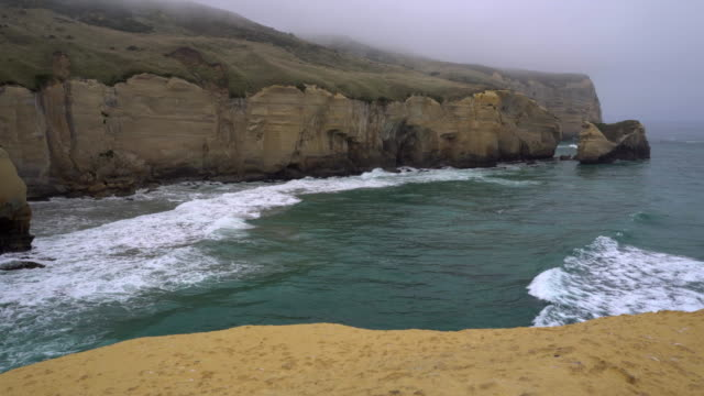 secret beach - otago - new zealand - 崖点の映像素材/bロール