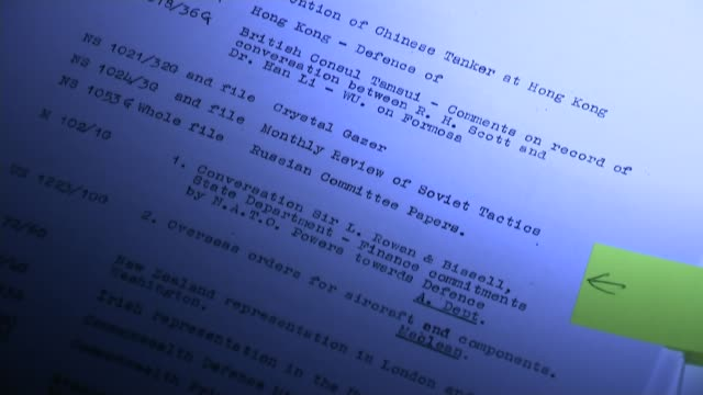 vídeos y material grabado en eventos de stock de secret files published on cambridge spies burgess and maclean close shot of report listing secret documents to which donald maclean had access close... - buckinghamshire