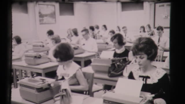 secretarial school, young women use type writers, enter the corporate work world trained as typists - young adult stock videos & royalty-free footage