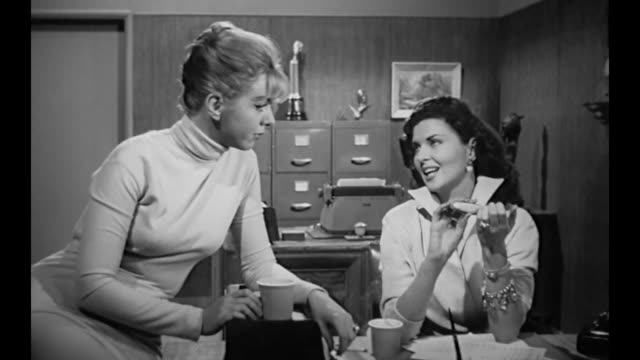 1959 secretaries gossip, answer phone and file nails - gossip stock videos & royalty-free footage