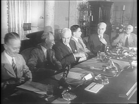 secretary cordell hull speaks to the committee and says nations should only use force when necessary and only to a nation's capacity / sir alexander... - cordell hull stock videos and b-roll footage