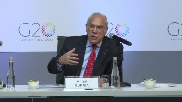 secretary general angel gurria praises argentina's economic and fiscal reforms but says more remains to be done during a g20 finance ministers in... - oeec video stock e b–roll