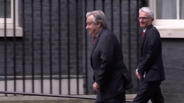un secretary general antonio guterres arrives at 10 downing street london for talks with prime minister theresa may - 10 downing street stock videos and b-roll footage