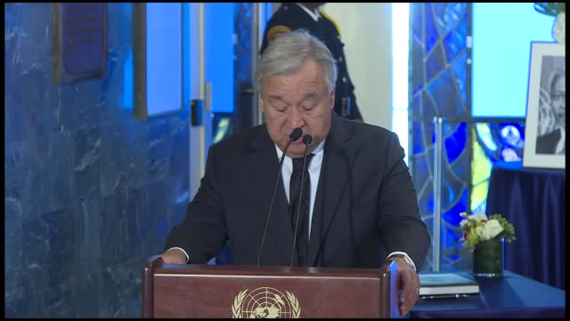 secretary general antonio guterres led a ceremony in new york wednesday to pay tribute to the former un chief kofi annan, who passed away at the age... - ceremony stock videos & royalty-free footage