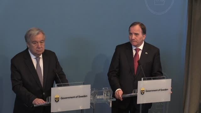 UN Secretary General Antonio Guterres meets Swedish Prime Minister Stefan Löfven in Stockholm to discuss Syria nuclear weapons and migration issues