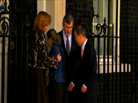 UN Secretary General Ban Ki Moon and wife Yoo Soon Taek arrive at 10 Downing street and are greeted by British Prime Minister and wife Sarah Brown on...