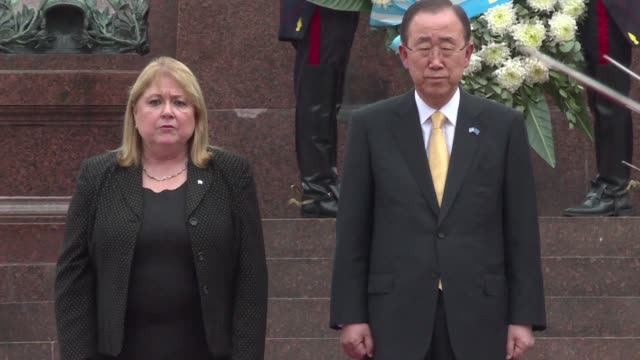 UN Secretary General Ban Ki moon on an official visit to Argentina attends a wreath laying ceremony with Foreign Minister Susana Malcorra at San...