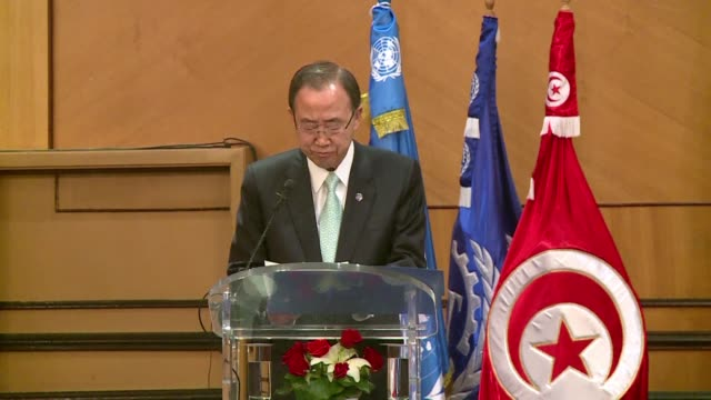UN Secretary General Ban Ki moon stresses the importance of getting young people into work during his visit to Tunisia