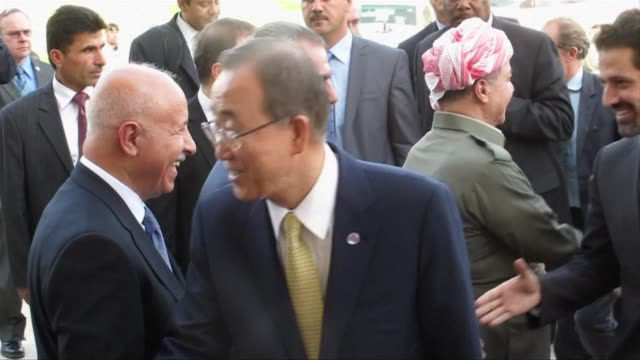 UN Secretary General Ban Ki Moon was in Iraq on Thursday and made a brief stop in Arbil where he met Iraqi Kurdish president Massud Barzani