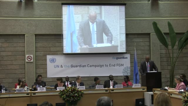 un secretary general ban ki moon will launch a pioneering global media campaign entitled end female genital mutilation - mutilazioni genitali femminili video stock e b–roll