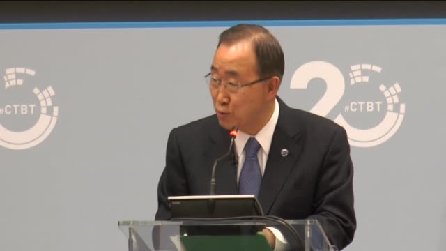 secretary general ban ki-moon delivers a speech during a high-level panel commemorating the 20th anniversary of the comprehensive nuclear-test-ban... - secretary general stock videos & royalty-free footage