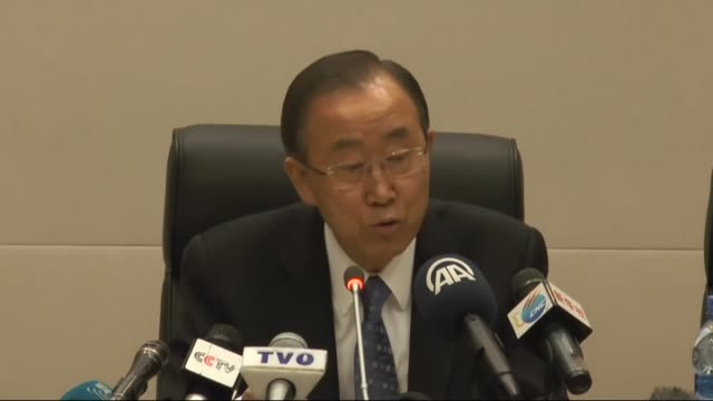 secretary general ban kimoon holds a press conference within the 24th summit of the african union in addis ababa ethiopia on january 31 2015 - 2015 stock-videos und b-roll-filmmaterial