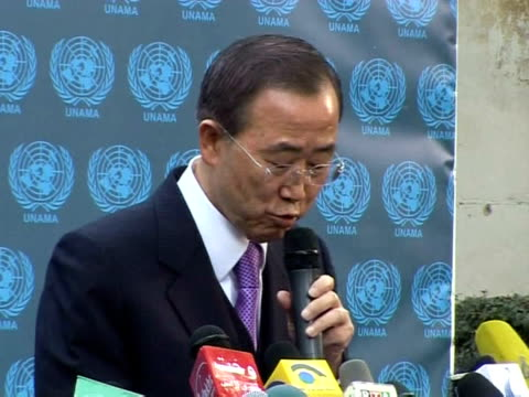 secretary general ban ki-moon welcomed monday a decision to cancel afghanistan's run-off election and congratulated president hamid karzai on being... - secretary general stock videos & royalty-free footage