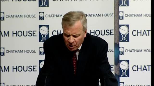 secretary general chatham house speech; jaap de hoop scheffer speech continued sot/ speech ends - secretary general stock videos & royalty-free footage