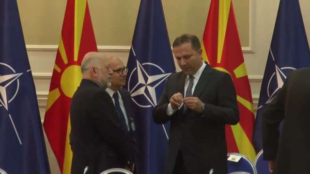secretary general jens stoltenberg and north macedonian prime minister zoran zaev attend a meeting of north atlantic council in skopje north... - skopje stock videos and b-roll footage