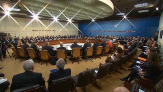 secretary general jens stoltenberg chairs the second day meeting of the nato foreign ministers at the nato headquarters in brussels belgium on... - leitende person stock-videos und b-roll-filmmaterial