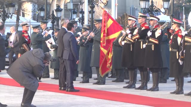 Secretary General Jens Stoltenberg is welcomed by Macedonian Prime Minister Zoran Zaev with an official welcoming ceremony in Skopje Macedonia on...