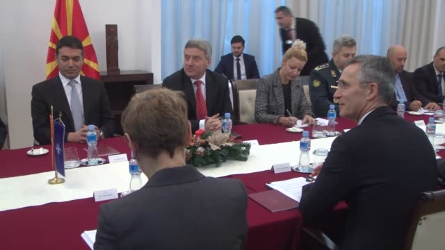 Secretary General Jens Stoltenberg meets with Macedonian President Gjorge Ivanov and Foreign Minister Nikola Dimitrov in Skopje Macedonia on January...