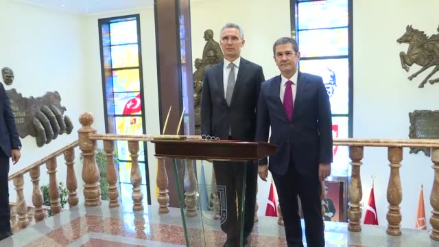 Secretary General Jens Stoltenberg meets with Turkish Defense Minister Nurettin Canikli at the Defense Ministry in Ankara Turkey on April 16 2018...