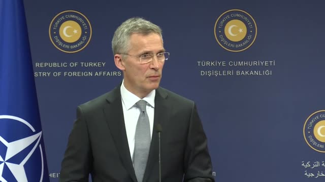 Secretary General Jens Stoltenberg speaks at a joint press conference with Turkish Foreign Minister Mevlut Cavusoglu following their meeting in...